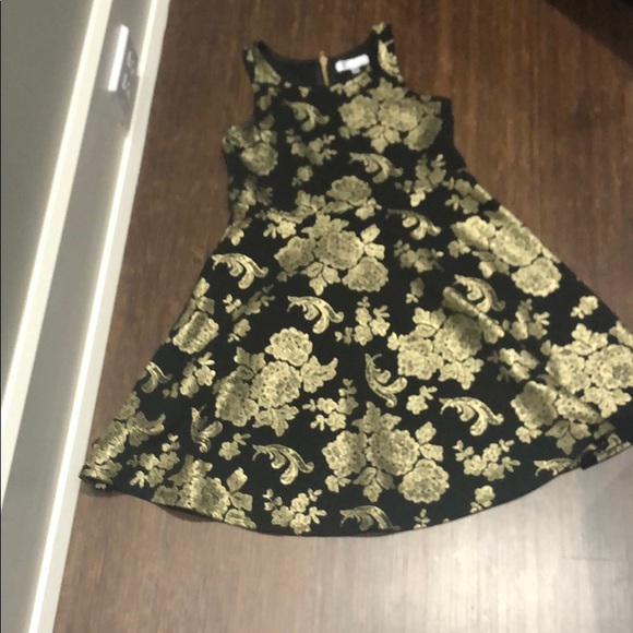 Nickie Lew Other - Black with Gold Metallic Print Party Dress